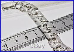 Sterling Silver (925) Men's Patterned Solid Curb Chain Bracelet 8 8.5 inch