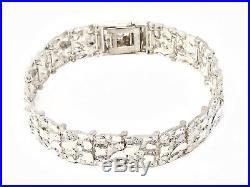 Sterling Silver Adjustable Solid Nugget Style Bracelet 7.75 15mm 32 grams