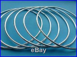 Sterling Silver Bangles Solid 925 Silver Plain Round Bracelets Handmade Bangle