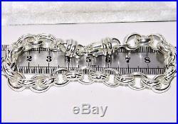 Sterling Silver Belcher Bracelet 9 inch Oval Link Pattern & Plain Solid