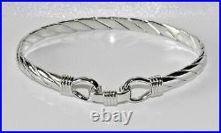 Sterling Silver Men's / Ladies Heavy Hook Bangle Solid 925 Silver