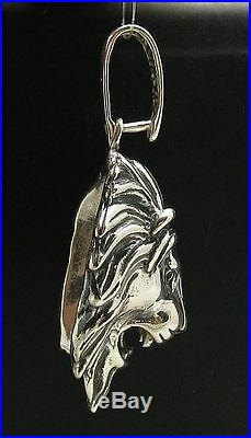 Sterling Silver Pendant Solid 925 Heavy Lion Head 3d Pe000665