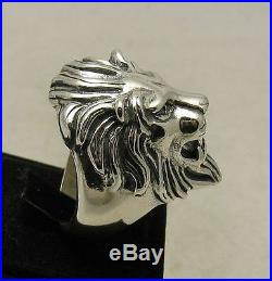Sterling Silver Ring Solid 925 Heavy Lion Head Huge Biker New Size 7 14