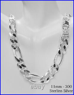 Sterling Silver SOLID FIGARO 11MM Chain Necklace, 925 Silver Necklace Italy made