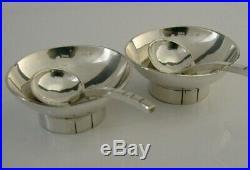 Stylish Pair Of Solid Modernist Sterling Silver Slat Cellars & Spoons Handmade