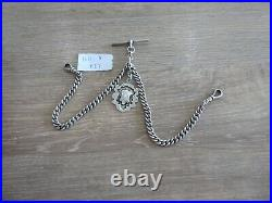 Superb Antique Solid Sterling Silver Double Albert Pocket Watch Chain With Fob