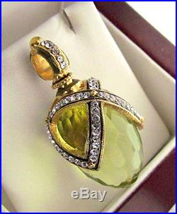 Superb Peridot Russian Egg Pendant Made Of Solid Sterling Silver 925 & 24k Gold