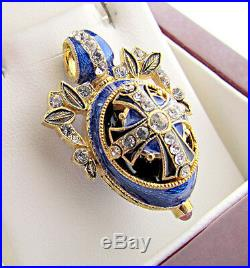 Superb Russian Solid Sterling Silver 925 & 24k Enamel Egg Pendant With Cross