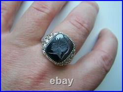 Superb Vintage Solid Sterling Silver Hematite Intaglio Signet Ring Size W 11