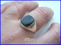 Superb Vintage Solid Sterling Silver Onyx Signet Ring Large Size Y 12 Biker Goth