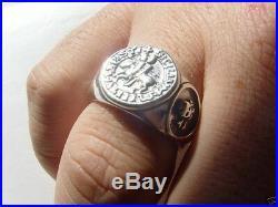 Templar Tempelritter Freimaurer Knights Skull Solid Sterling Silver 925 Ring