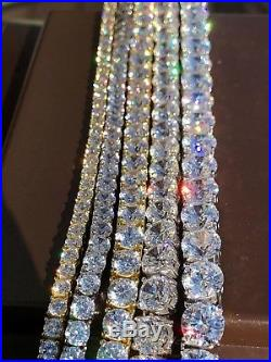 Tennis Chain Real SOLID 925 Sterling Silver Single Row ICY Diamonds Men's ITALY