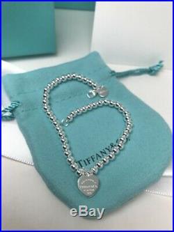 Tiffany & Co. Enamel 925 Solid Sterling Silver 6.3 Bead Ball Bracelet