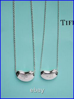 Tiffany & Co Solid Sterling Silver Chain Necklace Elsa Peretti Bean Pendant