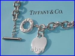 Tiffany & Co Sterling Silver Chain Solid Heart Tag Charm Toggle Necklace £665