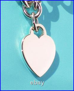 Tiffany & Co Sterling Silver Solid Heavy Chain Bracelet Plain Heart Tag Charm