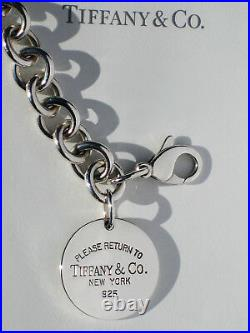 Tiffany & Co Sterling Silver Solid Return to Tiffany Round Circle Tag Bracelet