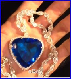 Titanic Inspired necklace blue ocean solid 925 Sterling Silver cz Party jewelry