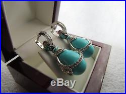 Turquoise Earrings Handmade Russian Solid Sterling Silver 925 Gorgeous Quality