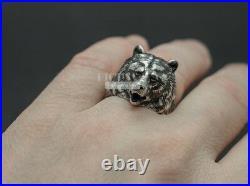 Unique Bear Animal 925 Sterling Silver Solid Detailed Men's Biker Rider Ring