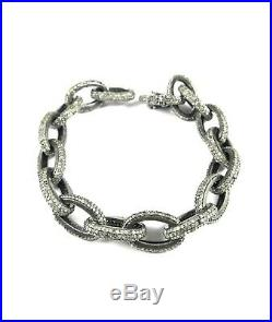 Victorian Design Natural Pave Diamond Bracelet Solid 925 Sterling Silver Jewelry