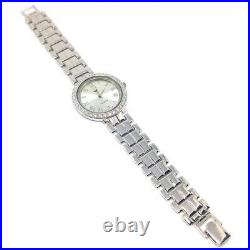 Video! Solid 925 Sterling Silver Mens Wrist Watch With Clear Diamond Czs Bezel