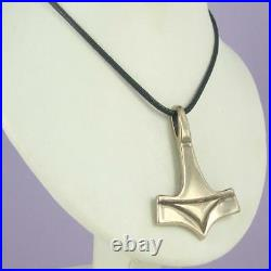 Viking Norse Mjolnir Thor's Hammer Solid Pendant & Cord Men's Silver or Bronze