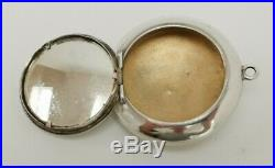 Vintage 1910 Arthur J Smith Solid Sterling Silver Enamel Fylfot Compact Pill Box