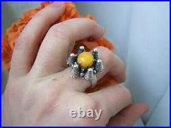 Vintage Modernist Solid Sterling Silver Butterscotch Amber Ring Size R 8.5 Rare
