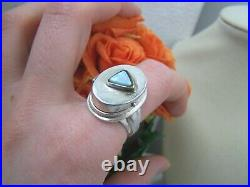 Vintage Modernist Solid Sterling Silver Opal Locket Pill Poison Ring Size S 9