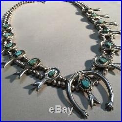 Vintage Navajo SOLID Sterling Silver Turquoise Squash Blossom Necklace 170g