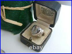 Vintage Solid Sterling Silver Enamel Locket Pill Poison Ring Adjustable Size O