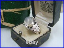 Vintage Solid Sterling Silver Moonstone Pill Locket Poison Ring Size R 8.5 Rare