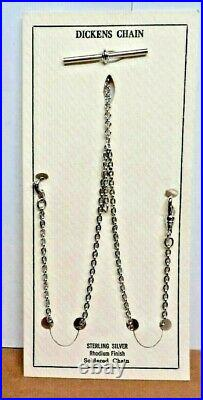 Vintage Solid Sterling Silver USA Dickens Double Albert Pocket Watch Chain Fob