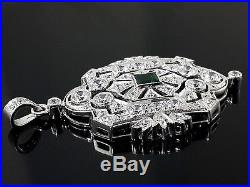 Vintage style pendant solid 925 sterling silver real handmade green emerald cut