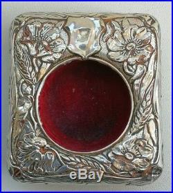 Vtg 1906 Art Nouveau Solid Silver Floral Desk Travel Goliath Pocket Watch Clock