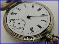 Vtg 1908 Omega 41mm Solid 935 Sterling Silver & Enamel Half Hunter Pocket Watch