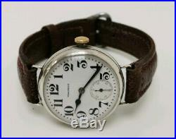 Vtg WW1 Waltham Solid Sterling Silver Trench Officers Model 1907 Wrist Watch