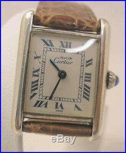 Woman's Must de Cartier Paris Tank Quartz 925 Solid Sterling Silver Swiss Watch