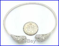Women Genuine Solid 925 Sterling Silver PANTHER Pave Cubic Cuff Bangle Bracelet