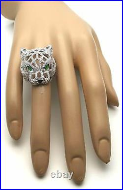 Women Ladies Panther Genuine Solid 925 Sterling Silver Pave CZ Cocktail Ring BIG