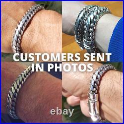 Woven Snake Mens Bracelet 10mm SOLID 925 Sterling Silver. (All Lengths)