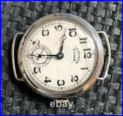 Ww1 Trench Watch Cyma Cronometre 1915, Solid Silver Sterling Case